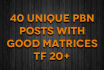40 Unique pbn Posts with Good Matrices TF 20