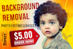 do 24 hrs BACKGROUND removal to 3 images
