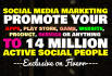promote app, website,product, service via over 14 million people on social,media