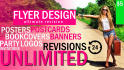create amazing Flyers Posters Banners and Covers