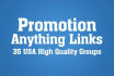 promote your any things links on top 60 groups
