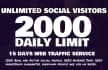 provide daily 2000 targeted,website traffic, real visitors to your website