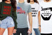 create three viral tshirt designs with model mockups