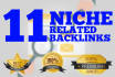 do 11 Manual Top Quality Niche Relevant  Dofollow Backlinks