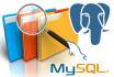 work with databases mysql, postgresql, sqlite