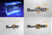 do Realistic holographic 3D Logo illuminating mockup