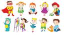 draw happy children doing different activities