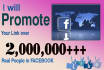 promote your link over 2million real people in facebook
