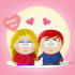 draw a cute couple South Park avatar for Valentine