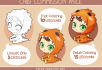 draw you with cute monster costume chibi style