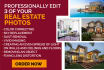 professionally edit 3 of   your real estate photos for 1 GIG