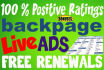 post on BackPage 8 LIVE ADs guaranteed