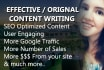 write original and Effective SEO Optimized Article