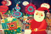 do santa wishing christmas and new year with voice