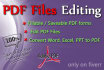 convert pdf files to word or excel files,