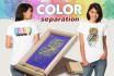 do professional color separations for tshirts