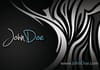 design a black business card with cool light zebra print