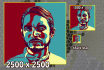do a color contrast design portrait