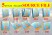 create 5 styles of 3D book cover in 1 day, include SOURCE file