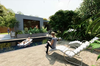 design landscape for the backyard, swimming pool, terrace, patio and do renders