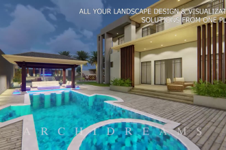 design your landscape, garden,  backyard, patio, roof terrace with 3d renderings