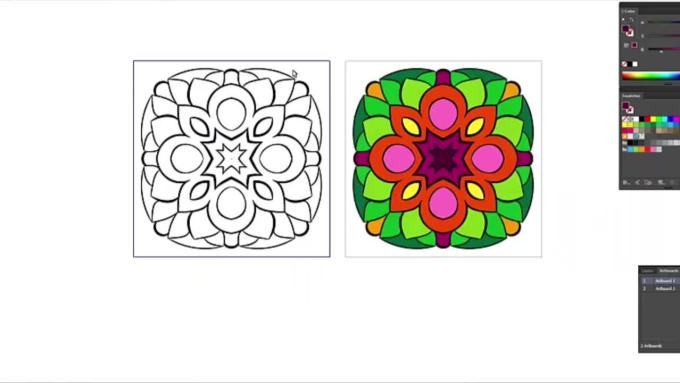 design mandalas for coloring books, printing on fabric