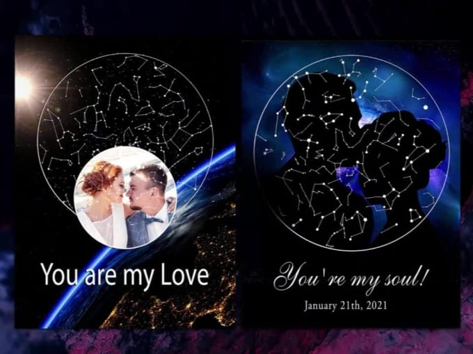make postcard map of the starry sky with photo