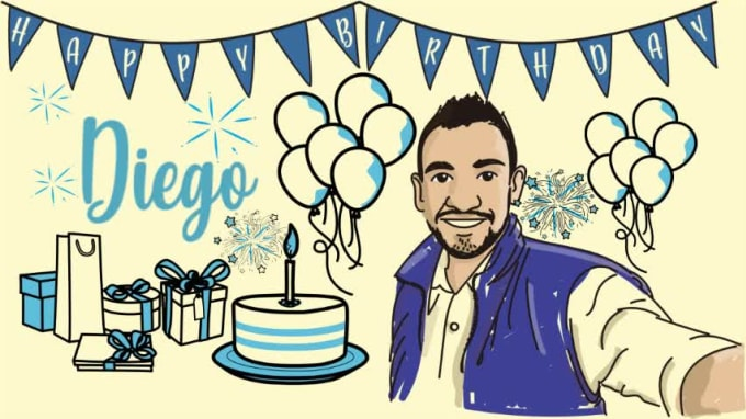 Create A Happy Birthday Animations With Custom By Paligraficas