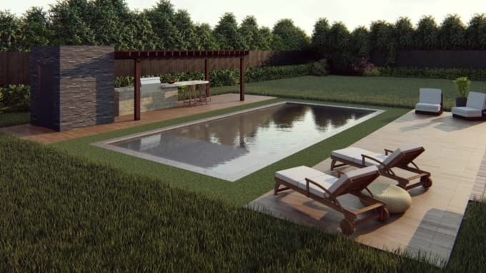 Design Your Landscape Backyard Or Pool With Render Images By Patycamero