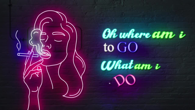 make neon text animation lyric