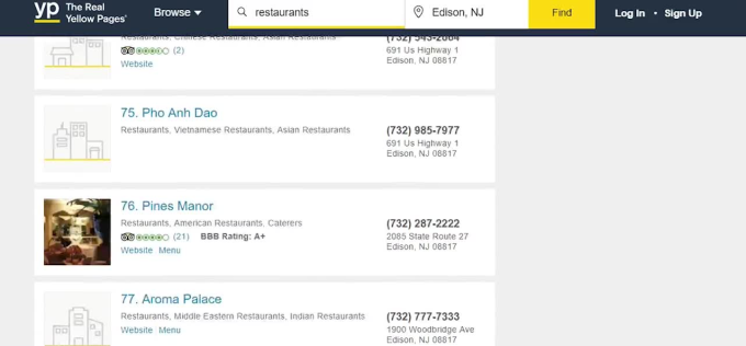 scrape yellow pages to get email list, address and contacts