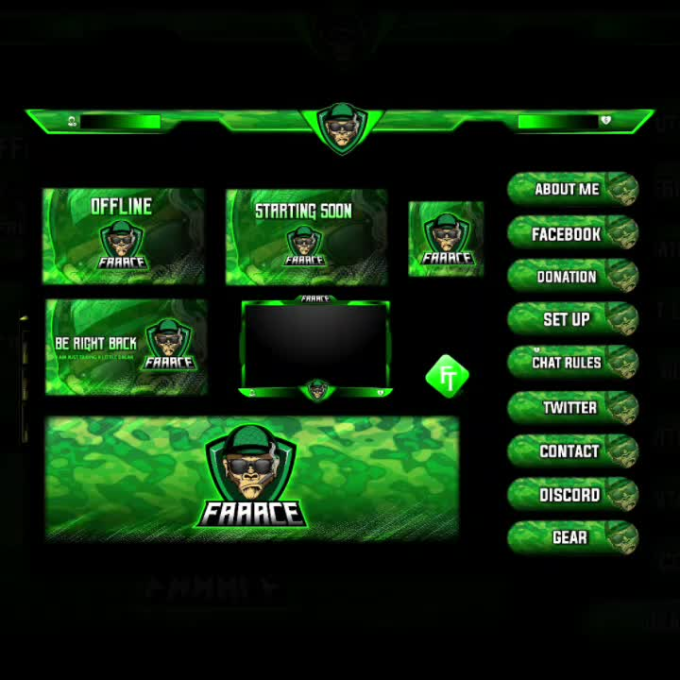 do awesome twitch overlay, screens, panels, logo for your stream