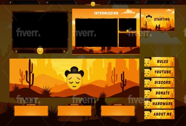 design animated twitch overlay, facecam, panels, screen for stream