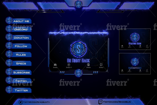 create professionally twitch overlay, facecam, alerts